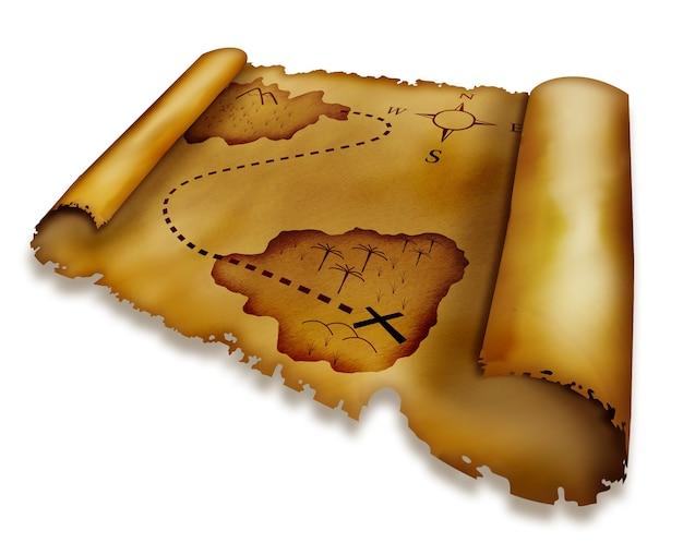 Stara mapa skarbów na białym tle
