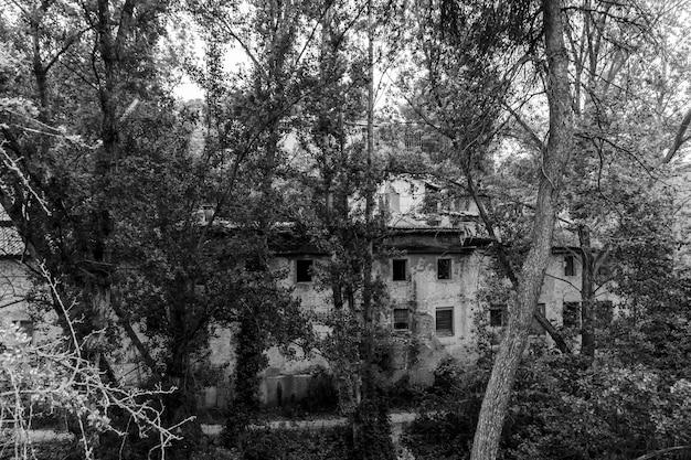 Stara opuszczona fabryka w korycie rzeki w banyeres mariola w czerni i bieli, alicante, hiszpania.