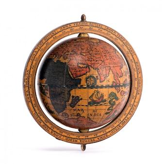 Stara rocznik drewniana światowa kula ziemska