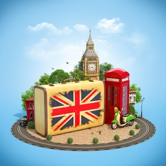 Stara walizka z flagą brytyjską, big benem i czerwoną budką telefoniczną