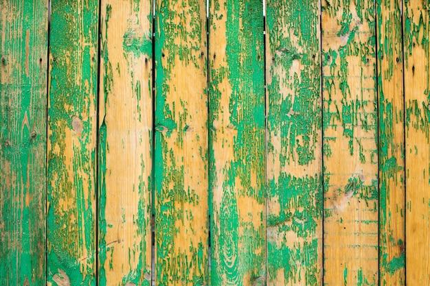 Stara zielona drewniana płotowa tekstura
