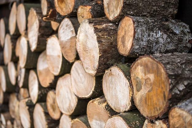 Starannie ułożone stos posiekanych pni na zewnątrz w jasny, słoneczny dzień, abstrakcyjne tło, kłody drewna kominkowego przygotowane na zimę, gotowe do spalania. koncepcja ochrony środowiska.