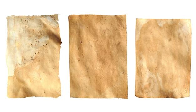 Stare arkusze papieru na białym tle na białym tle. rocznika cętkowane prześcieradła. zdjęcie wysokiej jakości