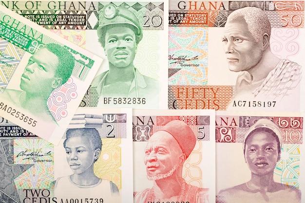 Stare banknoty cedis z ghany