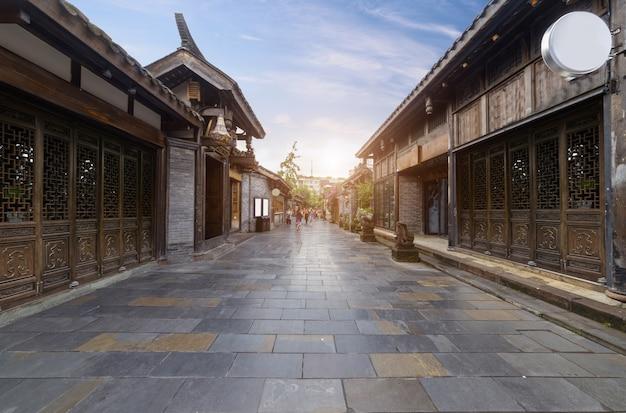 Stare budynki w kuan alley i zhai alley, chengdu, syczuan