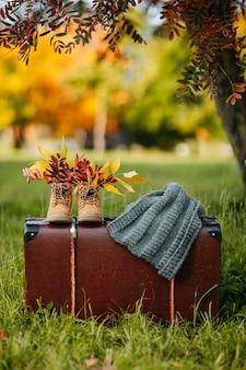 Stare buty i szalik z dzianiny na brązowej walizce vintage w jesiennym lesie