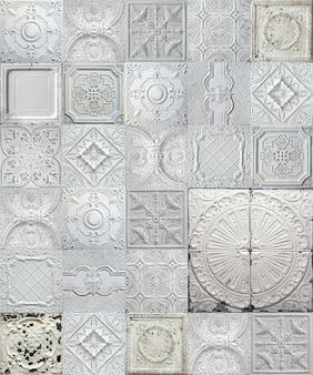 Stare dekoracyjne malowane cynowe płytki sufitowe