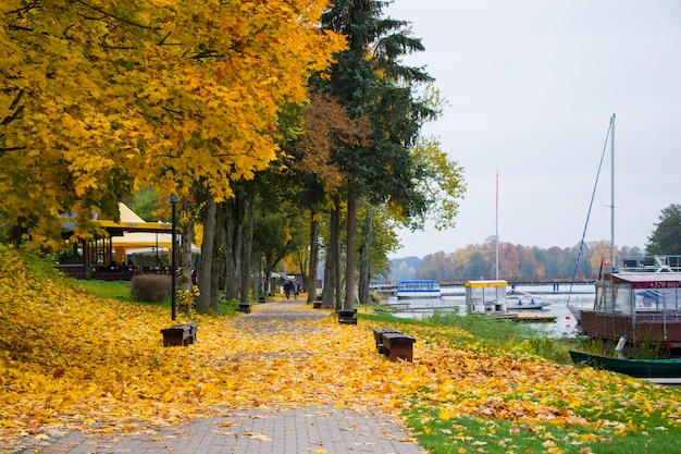 Stare drewniane łodzie w pobliżu plaży jeziora gavle w trokach, litwa. jesień i jesień.