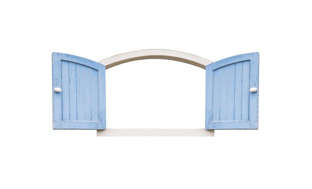 Stare drewniane niebieskie okno na białym tle