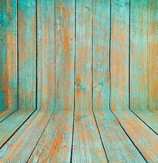 Stare drewniane wnętrze pokoju, zielone puste tło