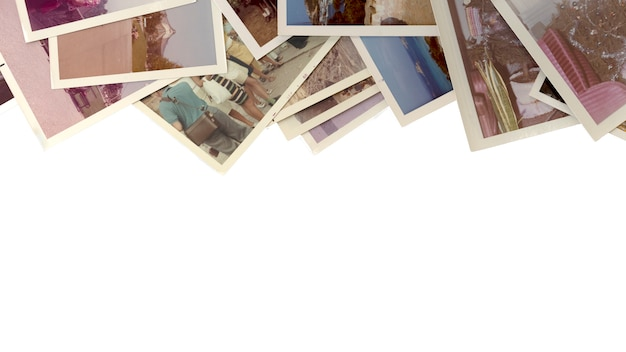 Stare i zabytkowe kolorowe zdjęcia z białym tłem.