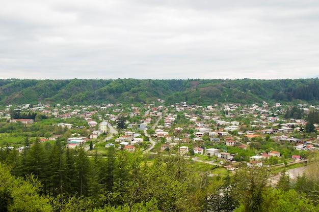 Stare miasto i widok centrum miasta i krajobraz w gruzji. miasto tsalenjikha.