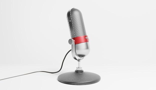Stare mody retro kolor srebrny i czerwony chrom z mikrofonem projekt przycisku na białym tle