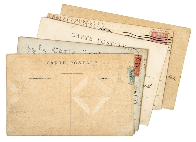 Stare odręczne pocztówki list mail. zużyte tło papieru