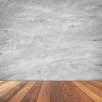 Starego pokoju cementu ściany wewnętrzny rocznik i drewniany podłogowy tło.