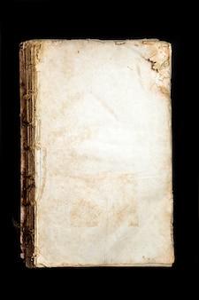 Starej okładki książki vintage tekstury na białym tle, starożytny zgrzybiały religijny historyczny rękopis papier wiążący list jidysz formy rzadkości