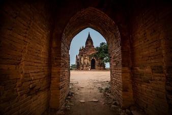 Starożytna świątynia widok starego bagan, Bagan, Myanmar (Birma)