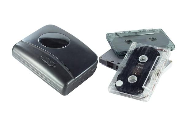 Staromodna muzyka kaseta gracza i kasety taśma odizolowywająca