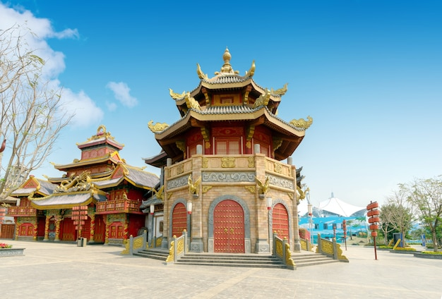 Starożytna architektura w stylu chińskim, hainan, chiny.