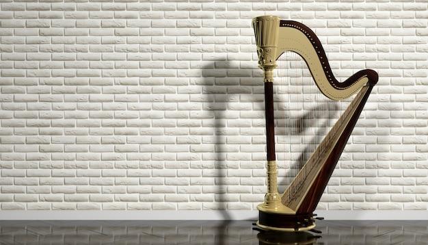 Starożytna harfa na tle beżowego wnętrza, ilustracja 3d