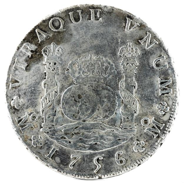 Starożytna hiszpańska srebrna moneta króla fernanda vi.