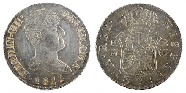 Starożytna hiszpańska srebrna moneta króla fernando vii.