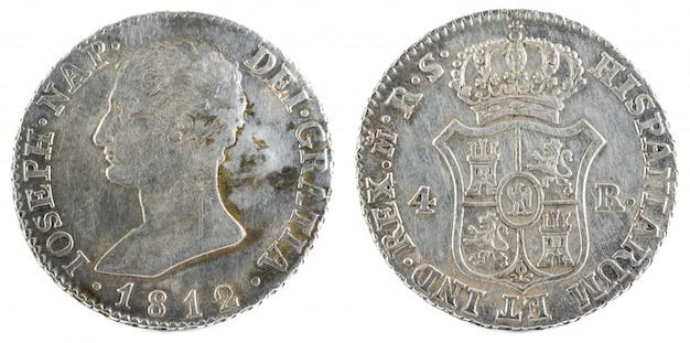 Starożytna hiszpańska srebrna moneta króla jose napoleona.