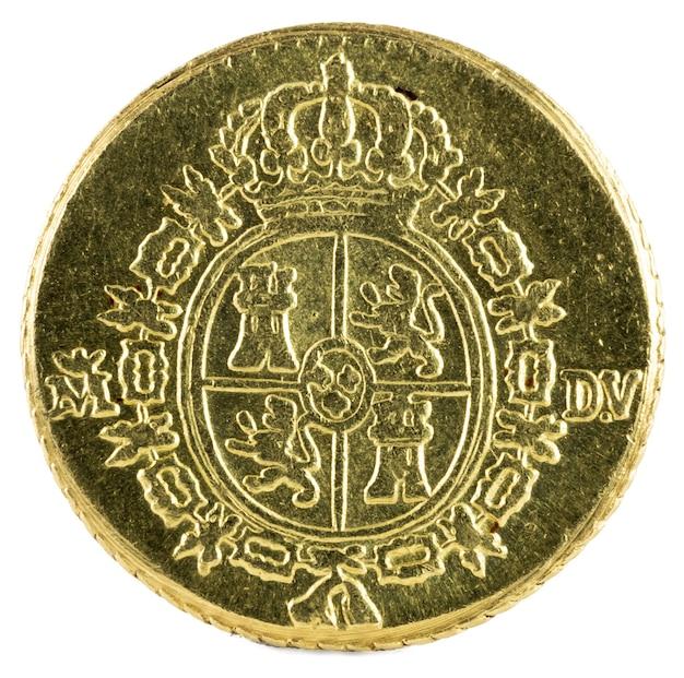 Starożytna hiszpańska złota moneta króla karola iii.