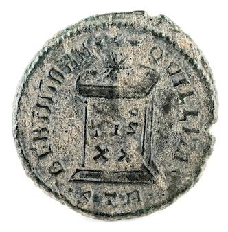 Starożytna rzymska moneta miedziana cesarza konstantyna ii. odwrócić.