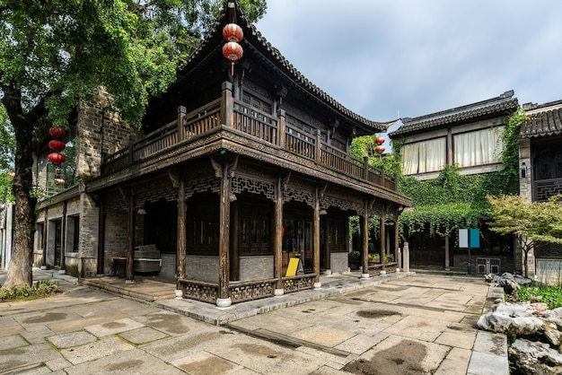 Starożytne budynki miejskie i ulice w nanjing w chinach
