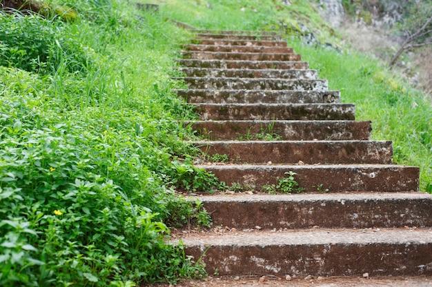 Starożytne kamienne schody, chodnik kroki na szlaku górskim