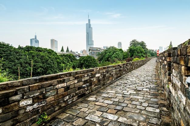 Starożytne mury miejskie w nanjing w chinach