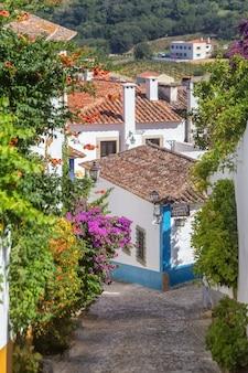 Starożytne ulice i domy portugalskiej wioski obidos.