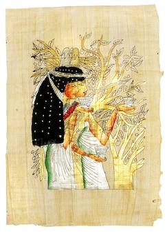 Starożytny egipski pergamin tekstura z tradycyjnymi rysunkami