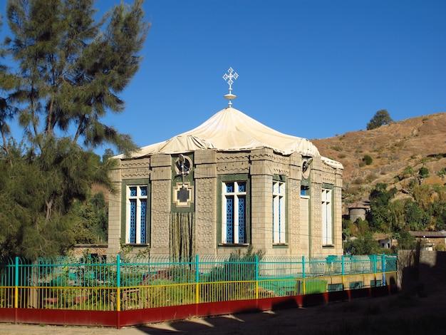 Starożytny kościół prawosławny z arką przymierza w mieście aksum w etiopii