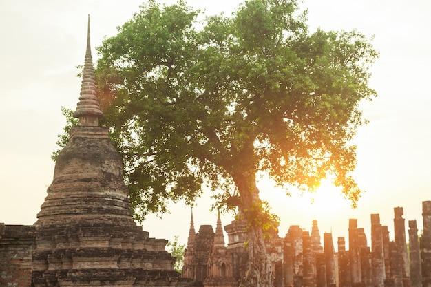 Starożytny pagoda w sukhothai park historyczny