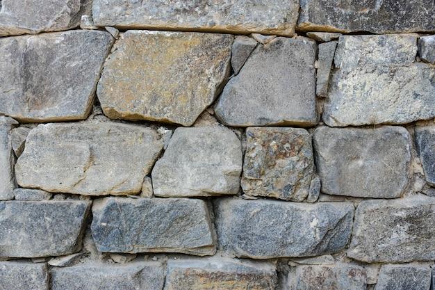 Starożytny wzór szary pęknięty prawdziwy kamienny mur