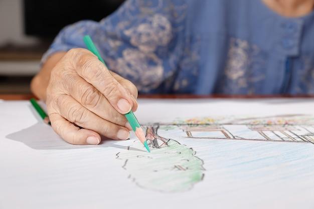 Starsza kobieta maluje kolor na swoim rysunku z córką, hobby w domu