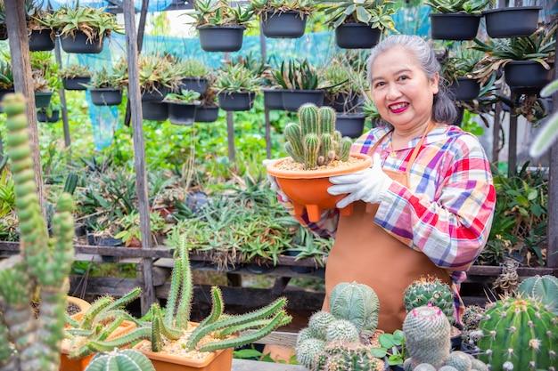 Starsza kobieta patrzeje integralność kaktusowy drzewo