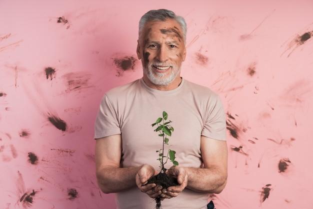 Starszy mężczyzna, ogrodnik trzymający roślinę do sadzenia na ścianie brudnej, różowej ściany