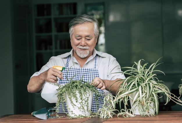 Starszy mężczyzna zasadza drzewa w domu