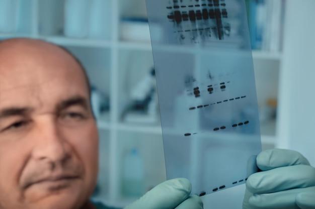 Starszy naukowiec sprawdza wyniki eksperymentu z białkami