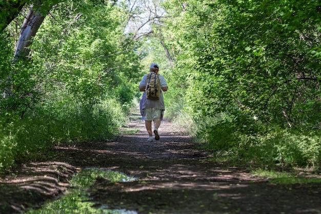 Starszy turysta kobieta w lesie, zdrowy styl życia. piesze wycieczki.