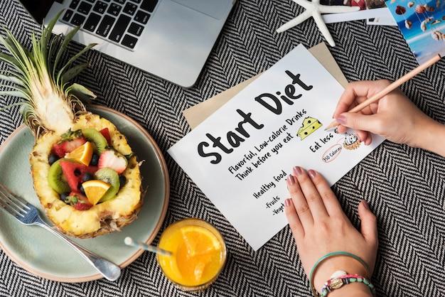 Start dieta odżywianie jedzenie wybór wagi zdrowa koncepcja