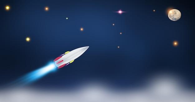 Start promu kosmicznego na otwartej przestrzeni nad ziemią. ocean i niebo pod pojęciem biznesu kosmicznego.