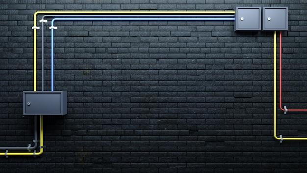 Stary czarny ściana z cegieł i komunikacje