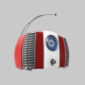 Stary czerwony odbiornik radiowy w stylu retro vintage. obraz 3d na białym tle na szarym tle