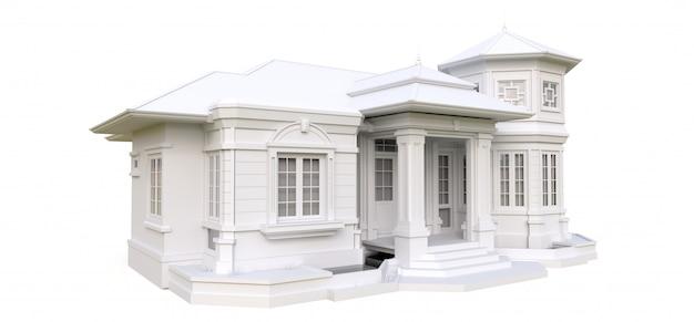 Stary dom w stylu wiktoriańskim. ilustracja na białej powierzchni. gatunki z różnych stron