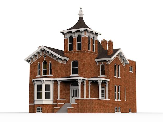 Stary dom w stylu wiktoriańskim. ilustracja na białym tle. gatunki z różnych stron. renderowania 3d.