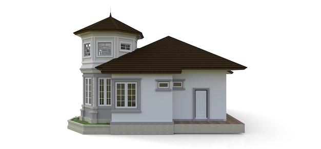 Stary dom w stylu wiktoriańskim. ilustracja na białym tle. gatunki z różnych stron. renderowanie 3d.